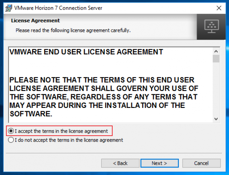 select i accept the terms in the license agreement and click next